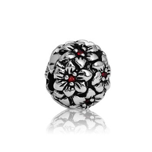 Sterling silver red hibiscus end stopper/clip from Evolve New Zealand.