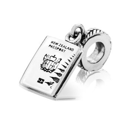 Sterling silver NZ passport pendant charm from Evolve New Zealand.