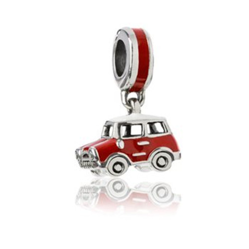 Sterling silver and enamel mini cooper pendant charm from Evolve New Zealand.