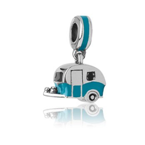 Sterling silver and enamel classic camper pendant charm from Evolve New Zealand.