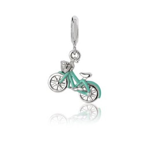 Sterling silver and enamel cruiser bike pendant charm from Evolve New Zealand.