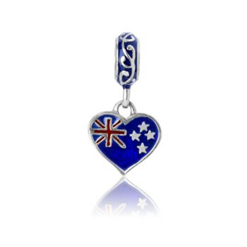 Sterling silver and enamel NZ love pendant charm from Evolve New Zealand.