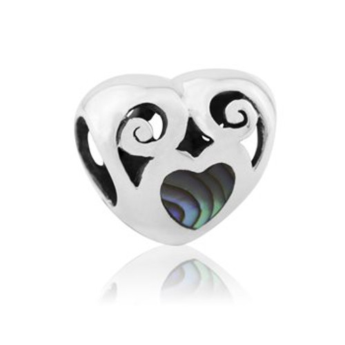 NZ paua and sterling silver love paua charm from Evolve New Zealand.