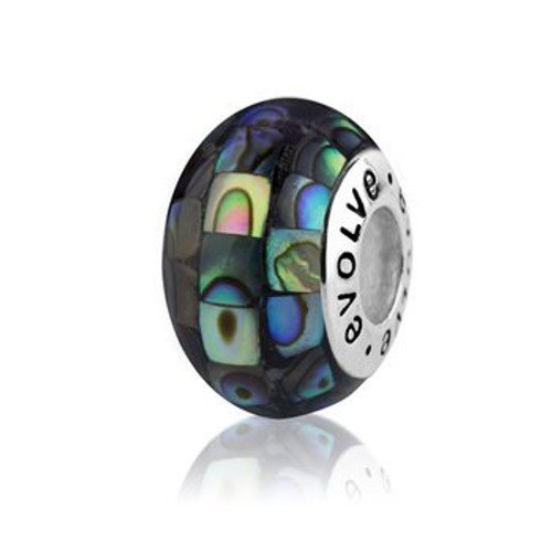 NZ paua and sterling silver paua mosaic charm from Evolve New Zealand.