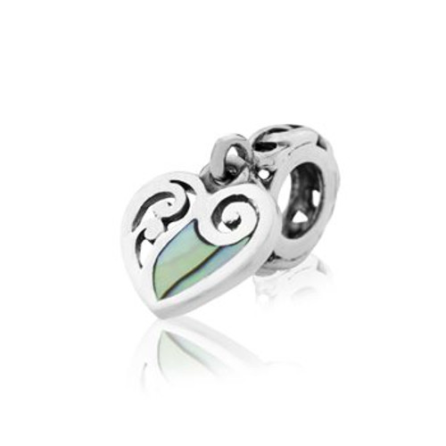 NZ paua and sterling silver paua heart charm from Evolve New Zealand.