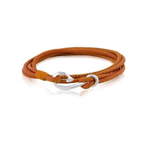 Burnt orange leather Safe Travel wrap charm bracelet from Evolve New Zealand.