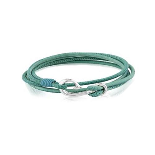 Teal leather Safe Travel wrap charm bracelet from Evolve New Zealand.