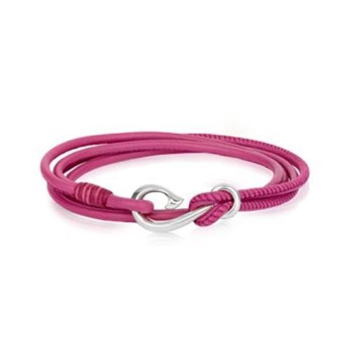 Fuchsia pink leather Safe Travel wrap charm bracelet from Evolve New Zealand.