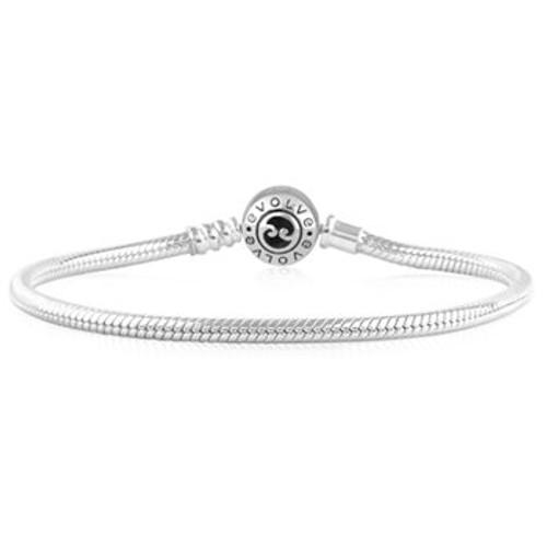 Sterling silver koru clasp charm bracelet from Evolve New Zealand.