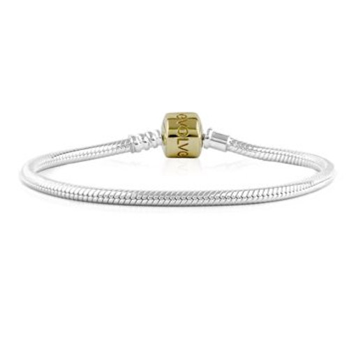 Sterling silver signature charm bracelet with gold clasp from Evolve New Zealand.