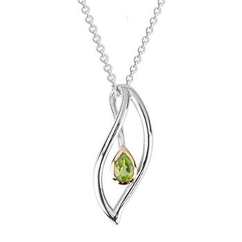 Sterling silver and peridot eternity leaf necklace from Evolve New Zealand.