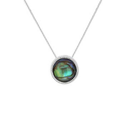 Sterling silver and paua faceted paua necklace from Evolve New Zealand.