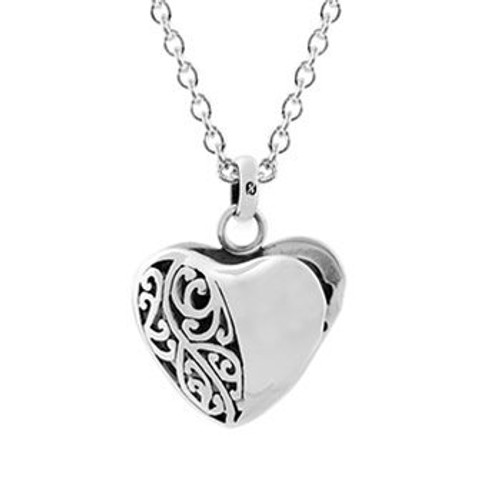 Sterling silver koru heart locket and chain necklace from Evolve New Zealand.