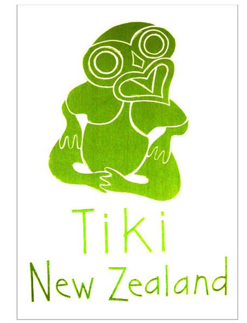100% cotton tea towel with a tiki design made in New Zealand by Moa Revival