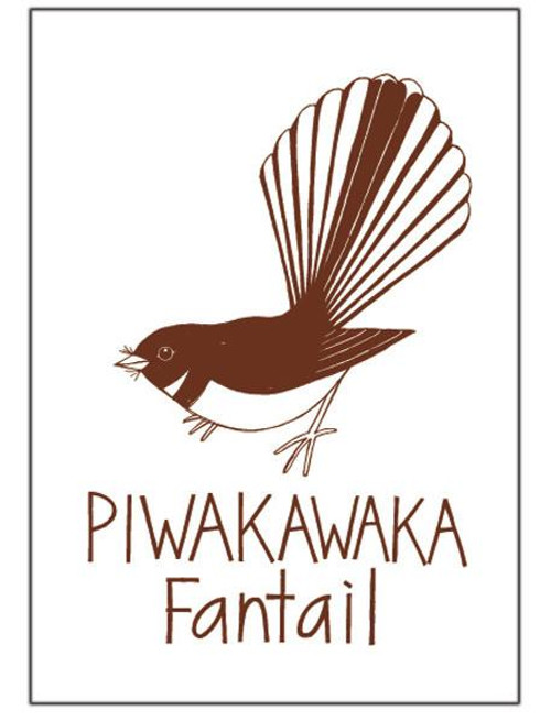 NZ made 100% cotton tea towel with an iconic piwakawaka design from Moa Revival.