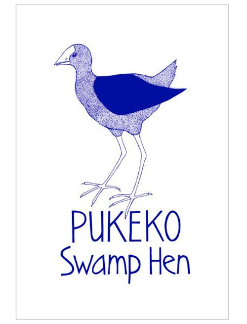 NZ made 100% cotton tea towel with an iconic pukeko design from Moa Revival.