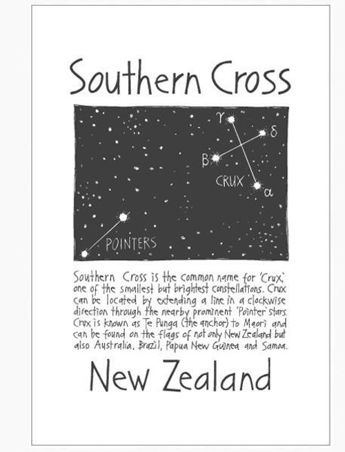 NZ made 100% cotton tea towel with an iconic Southern Cross design from Moa Revival.