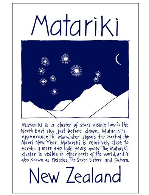 NZ made 100% cotton tea towel with an iconic Matariki design from Moa Revival.