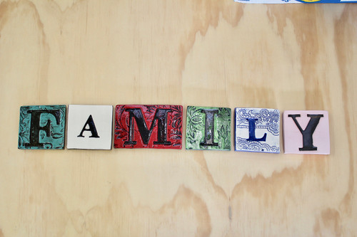 Ceramic family tile wall hanging from The Monster Company. Made in NZ.