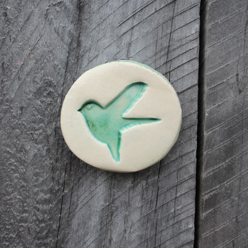 Ceramic birdy pebble from The Monster Company. Made in NZ.