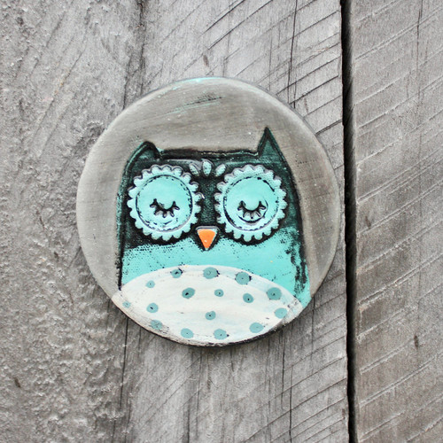 Ceramic owl disc from The Monster Company. Made in NZ.