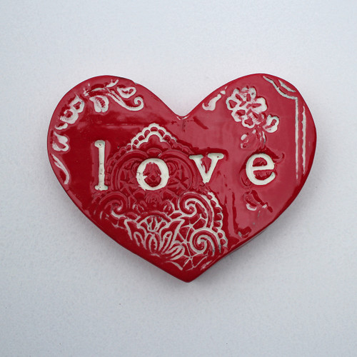 Ceramic love lace heart from The Monster Company. Made in NZ.