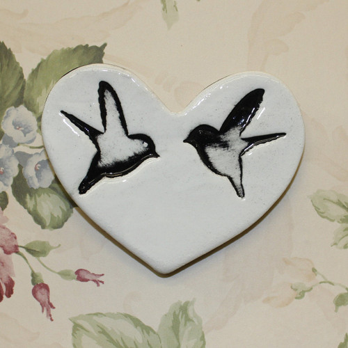 Ceramic double bird heart from The Monster Company. Made in NZ.