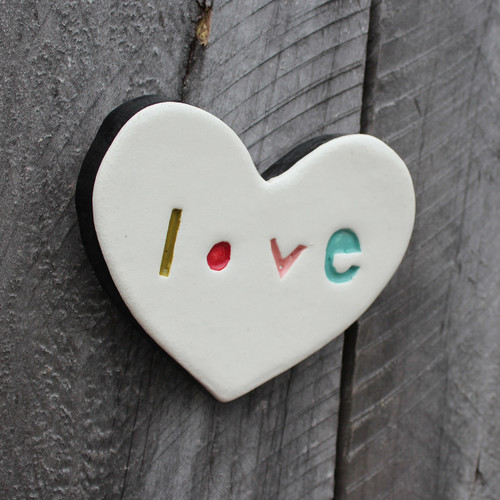 Ceramic stamped love heart from The Monster Company. Made in NZ.
