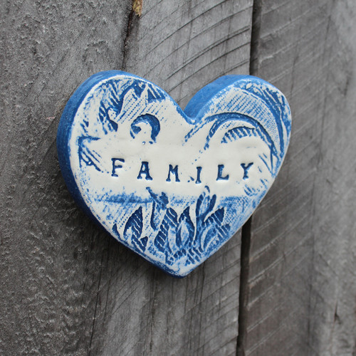 Ceramic family heart from The Monster Company. Made in NZ.