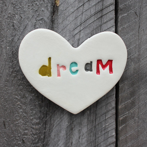 Ceramic stamped dream heart from The Monster Company. Made in NZ.