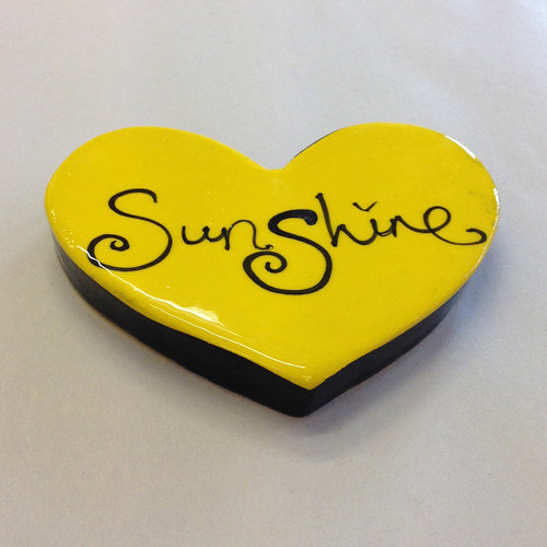 Ceramic sunshine heart from The Monster Company. Made in NZ.