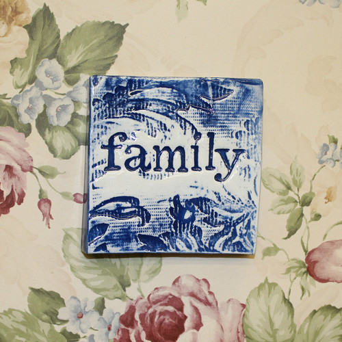 Ceramic family wall tile from The Monster Company. Made in NZ.