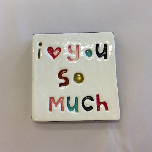 Ceramic  stamped wall tile from The Monster Company. I love you so much. Made in NZ.