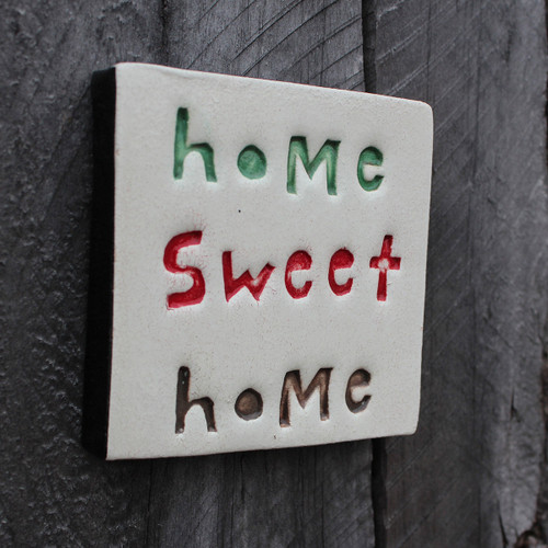 Home sweet home ceramic tile from The Monster Company. Made in NZ.