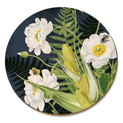 Mt Cook lily with bee cork backed placemat by NZ artist Tanya Wolfkamp.