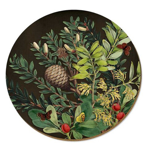 Pine cone and berries placemat from NZ artist WolfKamp and Stone.