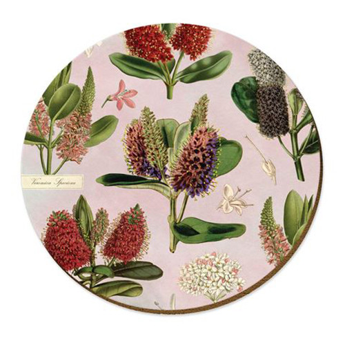 Hebes cork backed placemat by NZ artist Tanya Wolfkamp.