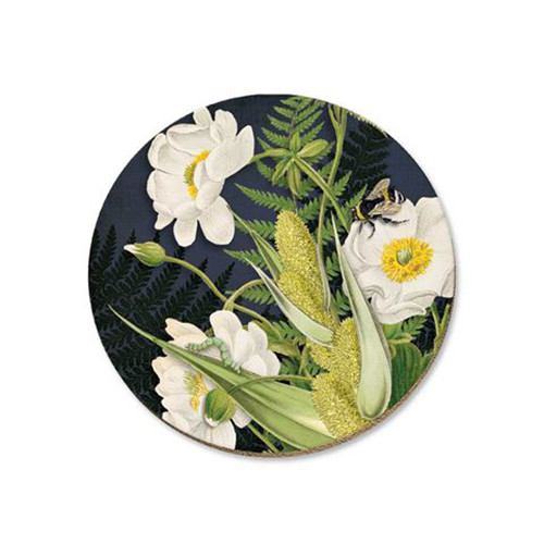 Mt Cook lily and bee cork backed coaster by NZ artist Tanya Wolfkamp.