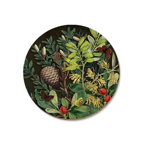 Pine cone and berries cork backed coaster by NZ artist Tanya Wolfkamp.