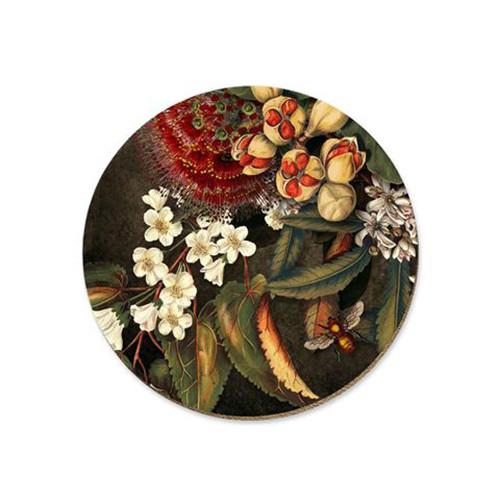 Kohekohe pods and flowers cork backed coaster by NZ artist Tanya Wolfkamp.