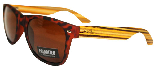 Moana Rd sunnies tortoise shell frame with striped arms.