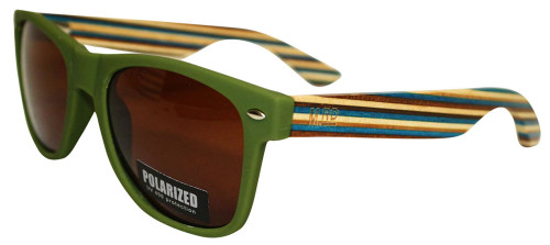 Moana Rd sunnies olive green frames with green striped arms.