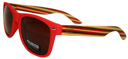 Moana Rd sunnies red frames red striped arms.
