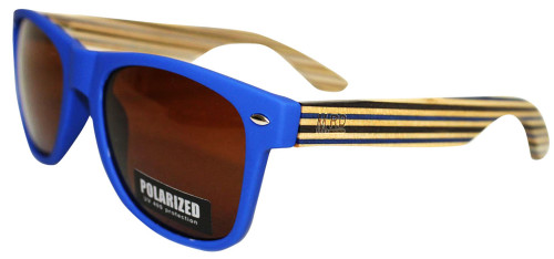 Moana Rd sunnies blue frames and blue striped arms.