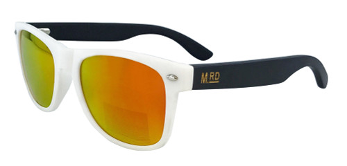 Moana Rd sunnies white frame with dark arms and yellow lense.