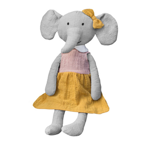 Effie the elephant soft toy, Lily and George.