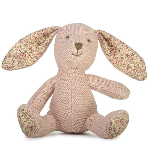 Beatrix knit bunny soft toy, Lily and George.