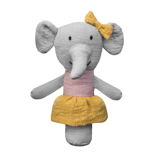 Effie the Elephant rattle, Lily and George.
