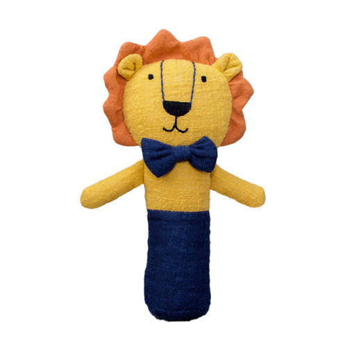 Logan the Lion rattle, Lily and George.