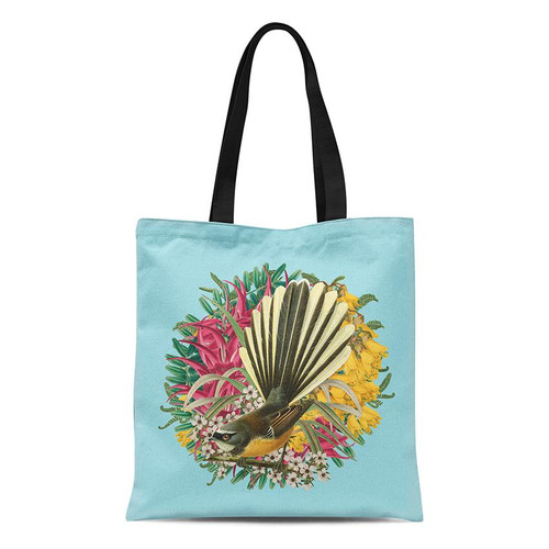 Fabric tote  bag with a Botanical Fantail design